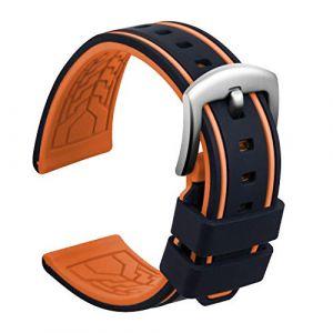 Ullchro Bracelet Montre Remplacer Silicone Bracelet Montre Bicolore - 20, 22, 24, 26mm Caoutchouc Montre Bracelet avec Acier Inoxydable Boucle Argent (22mm, Noir et Orange) (Ullchro-EU, neuf)