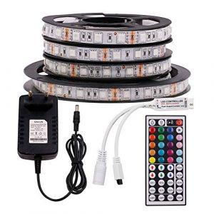 XUNATA Ruban LED 12V 5050 RGB Bande LED Kit Bande Lumineuse Flexible Multicolore Peut-Découpé Bande Lumineuse Avec Télécommande à Infrarouge 44 Touches (Non-Étanche IP21, 5m 300LEDs) (tomaslai2018, neuf)