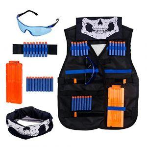 Krisvie Gilet Tactique des Enfants, Vest Jacket Kit de Gilet Tactique de Camouflage de Jungle d'enfants pour Le Pistolet de Jouet de Nerf N-Strike Série d'élite de Bataill (Noir2) (KrisVie, neuf)