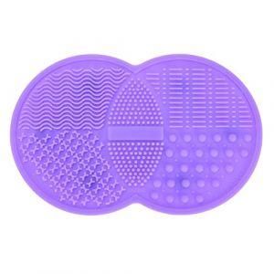 Tapis de nettoyage à brosse de maquillage, Cosmétique Brosse Cleaner Pad en silicone à laver Outil Scrubber Ventouse, Violet (Baokudi, neuf)
