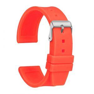 Ullchro Bracelet Montre Haute Qualité Remplacer Silicone Bracelet Montre Imperméable Flexible Lisse - 16,18,20,22,24,26,28mm Caoutchouc Montre Bracelet avec Acier Inoxydable Boucle (20mm, Orange) (Ullchro-EU, neuf)