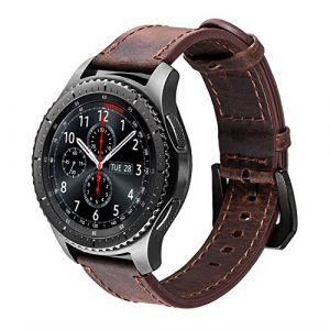 Gear S3 Bracelet, iBazal Gear S3 Frontier / Classic Bracelet de Montre 22mm Vintage Véritable Bracelet en Cuir pour Samsung Gear S3 Frontier / Classic SM-R760, Samsung Galaxy Watch 46mm [Style Vintage] - Café/Noir (ibazal, neuf)