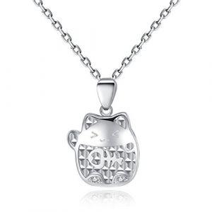 VIKI LYNN Collier argent pendentif chat mignon bijoux femme en argent fin 925 et zircon cadeau parfait pour les femmes filles (chat 6) (VIKI LYNN Direct, neuf)