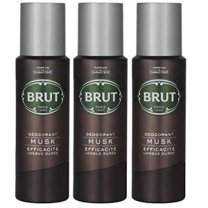 Brut Déodorant spray pour le corps Musc longue Duree 200ml Lot de 3 (Ingleby trading, neuf)