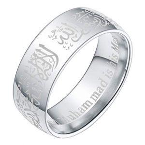 Boomly Bague de couple musulman Islam arabe Allah Shahada Anneaux Acier inoxydable Anneaux Accessoires de bijoux (Argent, 9) (Boomly, neuf)