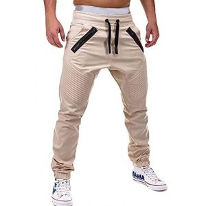 ORANDESIGNE Pantalon de Jogging Hommes Joggers Pantalons de Survêtement Sport Pantalons de Fitness Slim Fit Pantalon Décontracté Pantalon Streetwear Couleur Unie B Beige L (Wowmart Zoo X., neuf)
