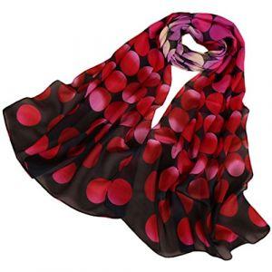 KAVINGKALY Foulard en mousseline de soie fleur foulards pour femmes Printe foulard en mousseline de soie à pois châles longue écharpe Wrap (rose + noir) (KAVINGKALY, neuf)