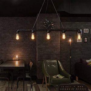 Lingkai Plafonnier Industriel Vintage Lumineux Edison Rustique Rétro Lumineux Pendentif Steampunk Métal Lumières De Tuyau D'eau (Cinq lumières) (Aniu Illumination Co., neuf)