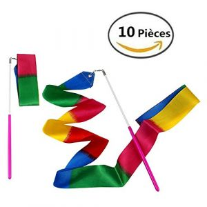 MUROAD 10 Pièces 2 mètres Gym Fitness Rubans de Gymnastique Rythmiques, Danse Tige De Streamer Baton Tournoyant Art Rubans pour Enfants(feu coloré) (muroad, neuf)