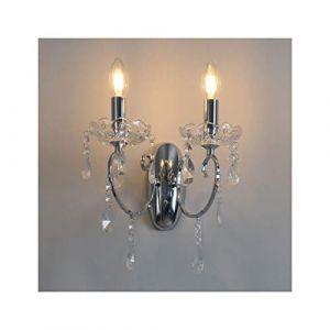 Applique 2 bras cristal baroque pampilles argent - Pavia KOSILUM - IP20 - Classe énergétique : Compatible avec A, B, C, D, E - 220/230V 50/60Hz - - - Argenté / Chromé - Descriptif technique du luminaire :Culot de l'ampoule :E14 | Nombre d'ampoules : 1 | I