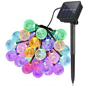 Guirlande Lumineuse Solaire Exterieur Jardin 6,5 m 30 LED Imperméable Lumières féériques Globe Boule de cristal Décor Festival Coloré Lumière pour Fête Mariage Patio Noël Décoration (Multicolore) (XQ7, neuf)
