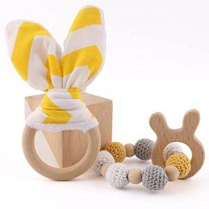 let's make Anneaux de Dentition Bébé Bunny Ear 1Set (2pc) Jouet Sensoriel pour Bébé Peut mâcher des Bijoux de Dentition Jouets Montessori Anneau de Dentition en Bois (baby tete, neuf)