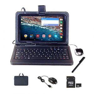 Tablette Tactile Ecran 10 Pouces,Tablet PC Android avec Clavier (AZERTY) Quad Core Débloqué Dual SIM Ordinateur Portable,16Go ROM,Double Caméras, phablet Livré avec Souris et Stylo Tactile (GBL Eur, neuf)