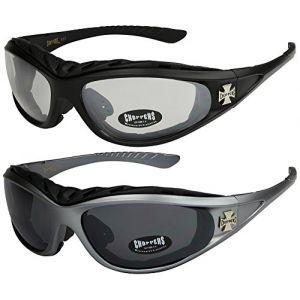 Choppers - Lot de 2 paires de lunettes de soleil moto motard biker unisexe femmes hommes - 1x Modèle 01 (noir brillant / teinte noir) et 1x Modèle 05 (noir mat / teinte noir) - Modèle 01 + 05 - wZNW8ml