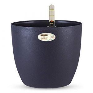 Sungmor - 3PC Pack Pot de Fleurs coloré Auto-arrosant, en Plastique Solide de qualité supérieure, Arrondi, avec Compteur d'eau - Pot de Fleurs d'intérieur et d'extérieur, Gris foncé (Sungmor FR, neuf)