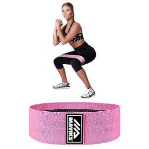 MAVIKS Bandes de résistance pour jambes, fessiers et hanches antidérapantes élastiques pour exercices à domicile, exercices de fitness pour femmes et hommes (Rose) (MAVIKS, neuf)