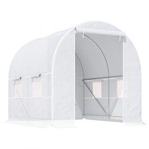 Outsunny Serre de Jardin Tunnel Surface Sol 5 m² 2,5L x 2l x 2H m châssis Tubulaire renforcé 18 mm 4 fenêtres Blanc (Aosom fr, neuf)