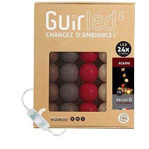 Guirlande lumineuse boules coton LED USB - Veilleuse bébé 2h - Adaptateur secteur double USB 2A inclus - 3 intensités - 24 boules 4m - Acajou (Lighting Arena, neuf)