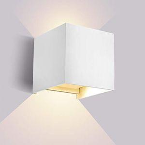 Lightess Applique Murale Intérieur LED 10W Moderne En Aluminium Up Down Lumière Réglable 120°Eclairage Extérieur Étanche IP65 Pour Chambre Escalier Terrasse Patio Blanc Chaud (Glighone, neuf)