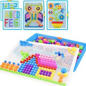 Creative Mosaique Puzzle 296pcs Bloc de Construction Magnétique Jeu de Construction Colorée Jouet Educatif DIY Assortiment de Couleur Cadeau de Noël Anniversaire pour Enfant Garçon Fille Age 3-8 Ans (QICHENGUK, neuf)