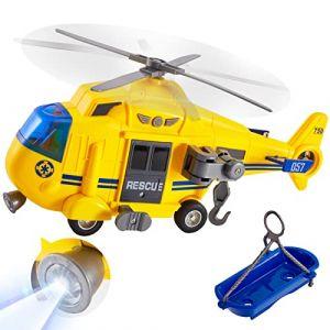 HERSITY 1:16 Hélicoptère Jouet avec Panier de Sauvetage, 3 Effets Sons et 2 Lumières Cadeau pour Enfant Garçon Fille 3 4 5 6 Ans (Hersity fr, neuf)