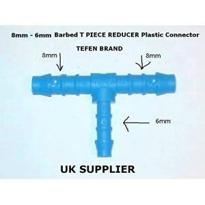 8mmÂ–6mm barbelé T Piece Réducteur Raccord plastique carburant Tuyau d'air raccords d'eau Huile Tuyau de réparation (Turbonoz Performance Car Parts, neuf)