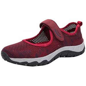 H-Mastery Femme Chaussures de Sport Respirante Léger Mesh Fitness Baskets pour Ballerine Yoga Marche Outdoor Velcro Mary Janes(Rouge,Taille37) (Hanson Mastery, neuf)