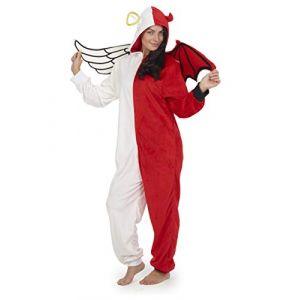 CityComfort Combinaison Pyjama Licorne Koala Chien Chat Pingouin Dinosaure Deguisement Halloween Adulte Onesie Polaire (S, Ange et démon) (F &F Stores, neuf)