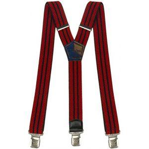 Bretelles Y entièrement réglable pour Homme Femme 4 cm avec 3 Clips élastique Solide Casual Pantalon Jeans Différentes Couleurs Noir, Marron, Bleu (Rouges-Noir-Rayures) (Decalen France, neuf)