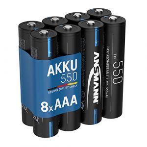 ANSMANN accu AAA 550mAh NiMH 1,2V - Micro AAA piles rechargeable avec faible décharge idéal pour guirlande lumineuse, lampe frontale, réveil, lampe solaire, Thermomètre, lumière vélo (8 pcs) (Mobil-Energy, neuf)