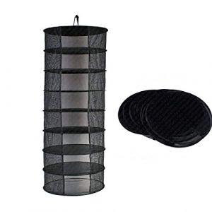 Suspendue Filet de Séchage 8 étagères Pliable à Linge pour Camping Rangement Portable Pique-nique Camping Pêche Voyager Noir (Fashion barra, neuf)