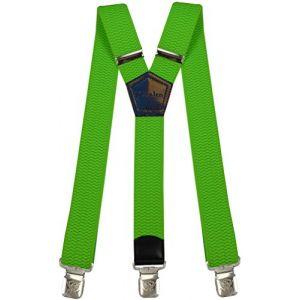 Bretelles Y entièrement réglable pour Homme Femme 4 cm avec 3 clips élastique Solide Casual Pantalon Jeans Différentes couleurs Noir, Marron, Bleu (Vert Néon) (Decalen France, neuf)