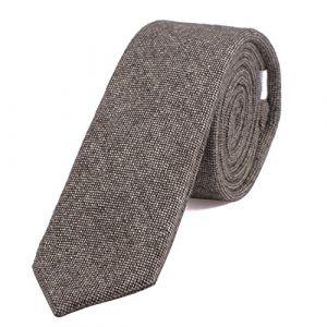 DonDon Fine cravate de coton pour hommes 6 cm - marron clair Taille unique (urban-styles, neuf)