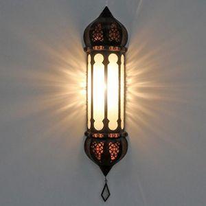 Lampe orientale murale de style marocain artisanat en provenance du Maroc Lanterne Ruya blanc Hauteur: 57 cm Largeur: 12 cm L5054 (Casa Moro, neuf)