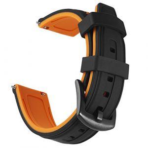 OLLREAR Caoutchouc Bracelet Montre Remplacer Silicone Bracelet Montre - 6 Colors & 4 Sizes - 20mm, 22mm, 24mm, 26mm (20mm, Orange) (Ollrear Store, neuf)