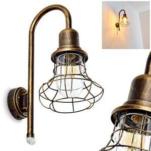 Applique murale d'extérieur Borkan en métal de couleur marron / doré - Spot lanterne pour paroi façade - mur - Lampe de jardin - cour - terrasse - Détecteur de mouvement (hofstein, neuf)