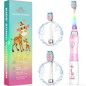 ENFANTS Brosse à dents électrique, brosse à dents rechargeable pour enfants avec la technologie sonique Ensembles de minuteur pour junior garçons et filles (Dada-Pro, neuf)