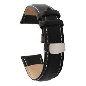 AUTULET Montre-bracelet en cuir Band pour Homme Noir blanc 22mm (Autulet Europe, neuf)