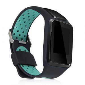 kwmobile Bracelet Compatible avec Tomtom Adventurer/Runner 3/Spark 3/Golfer 2 - Bracelet de Rechange en Silicone pour Fitness Tracker Noir-Turquoise (KW-Commerce, neuf)