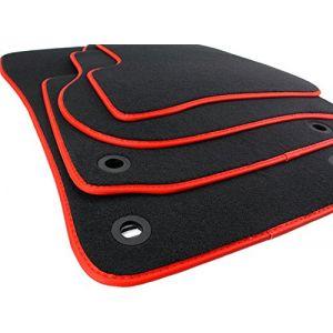 Kfzpremiumteile24 Lot de 4 Tapis de sol de voiture en velours Qualité Noir/rouge Bordure cuir (kfz-premiumteile24, neuf)