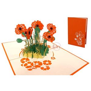 LIN17600 Carte pop-up Pop Up Motif fleurs et coquelicots Orange (LIN POP UP KARTEN, neuf)
