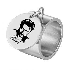 AFSTALR Bague Johnny Hallyday Homme Femme Médaille Charm Bijoux Cadeaux Le Boss Gravure Souvenir Fan, Argent 7 (AFSTALR, neuf)