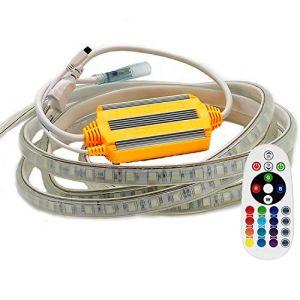 VAWAR 15m Ruban de LED, RGB - 16 couleurs au choix, bande lumineuse dimmable avec transformateur et 24 boutons télécommande, 5050 SMD 60 LEDs/m, flexible, 220V 230V strip, étanche IP65 (VAWAR, neuf)