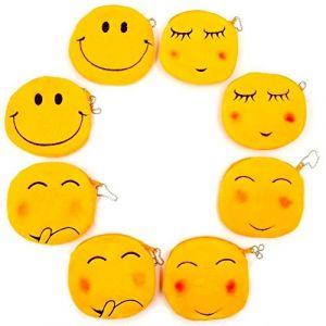JZK 8 Porte-Monnaie Peluche Emoji 11 cm Petit Sac Velours Sac émoticône Smiley Sac Visage Porte-Monnaie Cadeau Anniversaire Cadeau Noël pour Enfants Filles garçons (JZK Express Network, neuf)