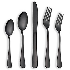 Berglander Ménagère noire en inox, 30 pièces couverts, couverts en titane noir, service pour 6 personnes (noir brillant) (Berglander Houseware, neuf)