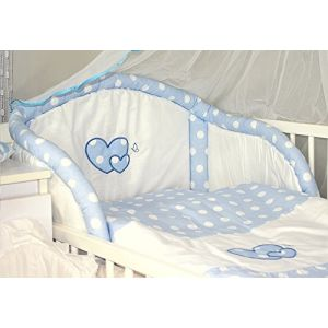 Baby's Comfort Parure de lit bébé ENSEMBLE DE 6 PIÈCES DE LITERIE CHOIX COULEURS HEARTS (s'adapte lit 120x60 cm, 3) (Baby's Comfort, neuf)
