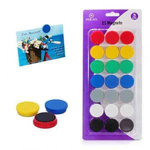 Nekava 21 aimants pour tableau blanc en 7 couleurs. Les petits aimants ronds sont parfaits pour l'école, les séminaires, le travail sur tableau magnétique ou même à la maison sur le frigo (Nekava Products, neuf)