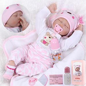 ZIYIUI Réaliste 22 inch 55cm Poupée Reborn Baby Doll Bebe Reborn Fille Souple Silicone Vinyle Dormir Nouveau-Né Bébé Fille Garcon Poupee Jouet A3FR (XUAN HE HAO, neuf)