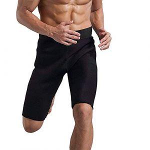 Vertvie Homme Short de Sudation Compression Minceur avec Poches Pantalon Court Sport Sauna Slim Joggings Fitness pour Perte de Pois (Noir, L) (Jewelry_Awesome®, neuf)