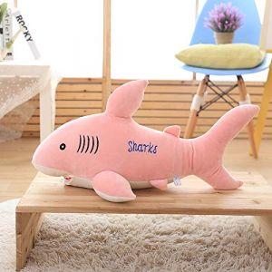 Requin jouet en peluche grand requin blanc poupée oreiller sommeil chiffon poupée enfants cadeau femme rose 85 cm (lizhaowei531045832, neuf)